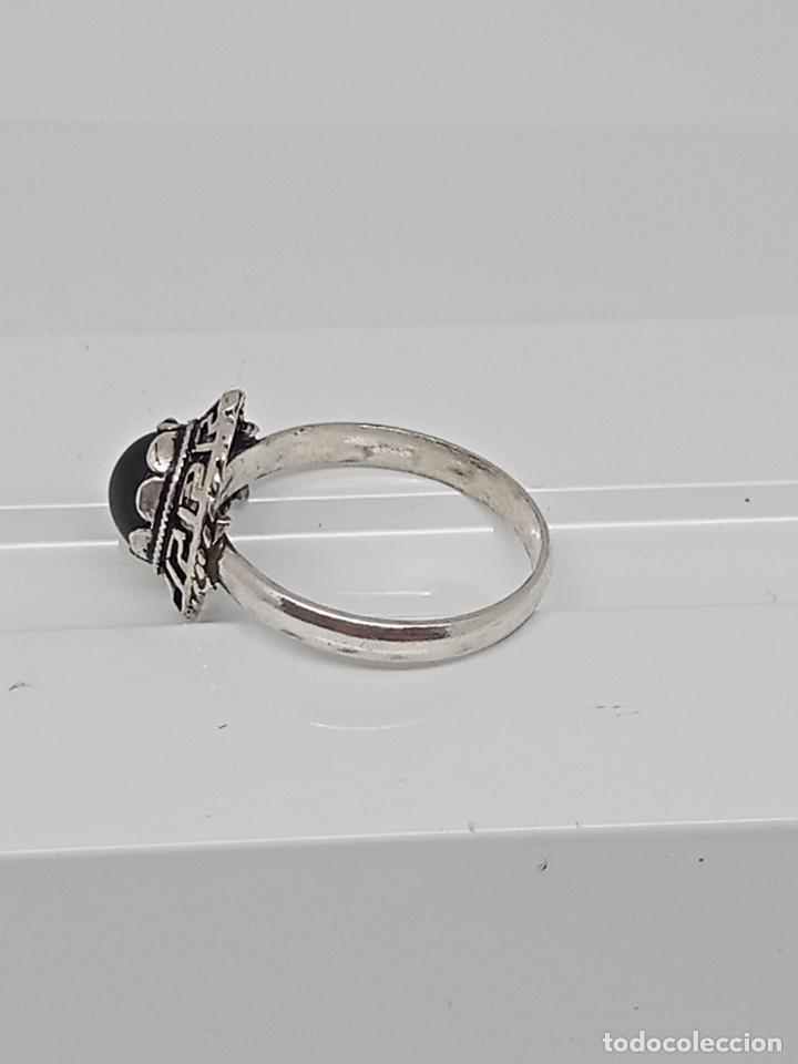 Joyeria: Antiguo anillo de plata de ley 925 con ónix - Foto 5 - 262540060