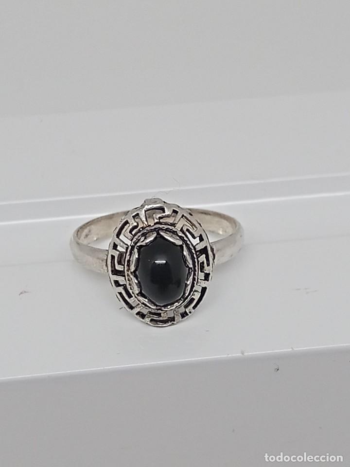 Joyeria: Antiguo anillo de plata de ley 925 con ónix - Foto 6 - 262540060