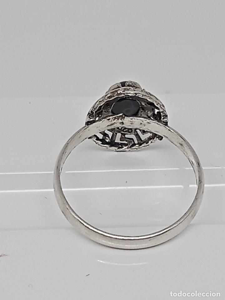 Joyeria: Antiguo anillo de plata de ley 925 con ónix - Foto 7 - 262540060