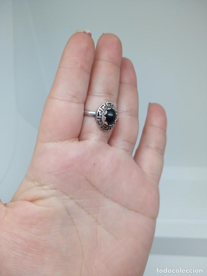 Joyeria: Antiguo anillo de plata de ley 925 con ónix - Foto 8 - 262540060