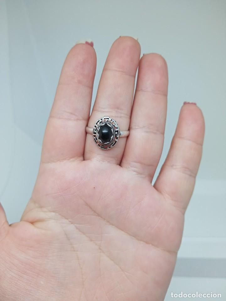 Joyeria: Antiguo anillo de plata de ley 925 con ónix - Foto 9 - 262540060