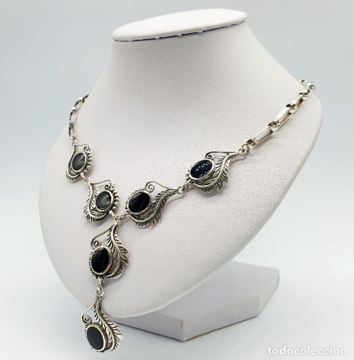 Joyeria: Preciosa gargantilla antigua de corte modernista en plata de ley maciza 925 y cabujones de azabache - Foto 2 - 263015110