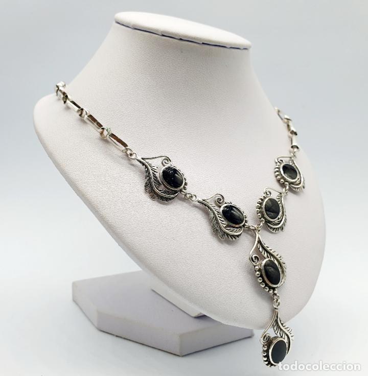 Joyeria: Preciosa gargantilla antigua de corte modernista en plata de ley maciza 925 y cabujones de azabache - Foto 4 - 263015110