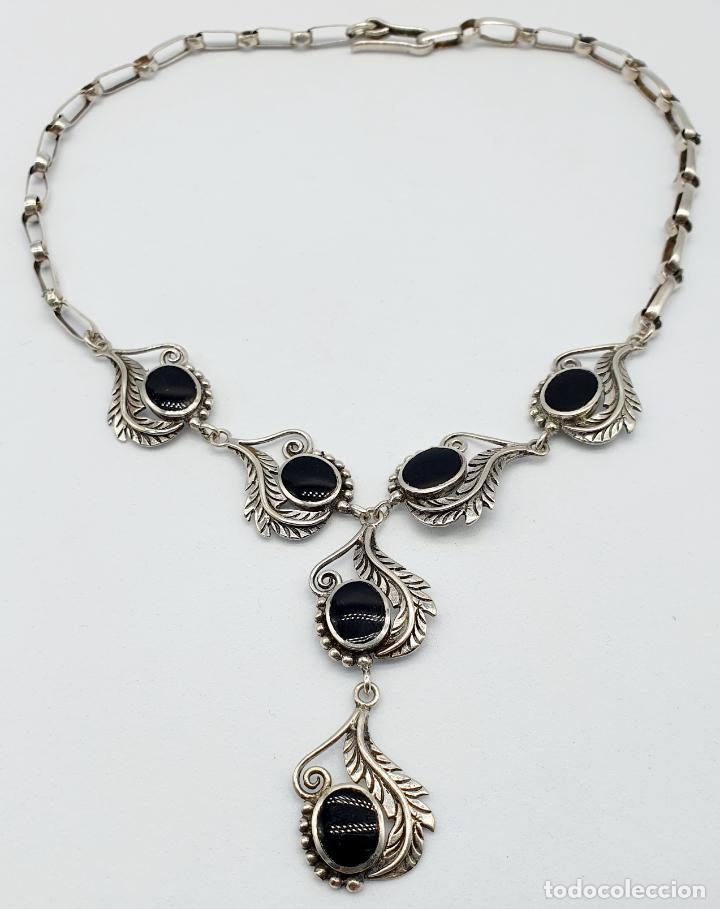 Joyeria: Preciosa gargantilla antigua de corte modernista en plata de ley maciza 925 y cabujones de azabache - Foto 5 - 263015110