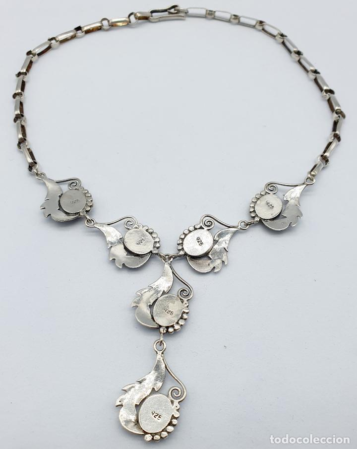 Joyeria: Preciosa gargantilla antigua de corte modernista en plata de ley maciza 925 y cabujones de azabache - Foto 6 - 263015110