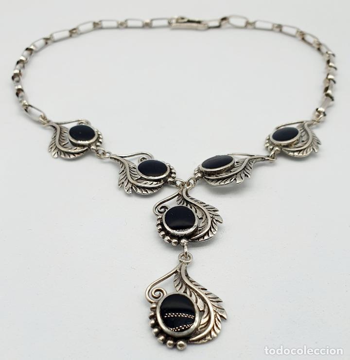 Joyeria: Preciosa gargantilla antigua de corte modernista en plata de ley maciza 925 y cabujones de azabache - Foto 7 - 263015110