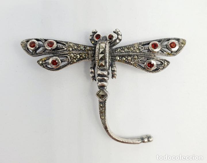 Joyeria: Bello broche antiguo de libélula en plata de ley, marquesitas y granates naturales . - Foto 7 - 263042725