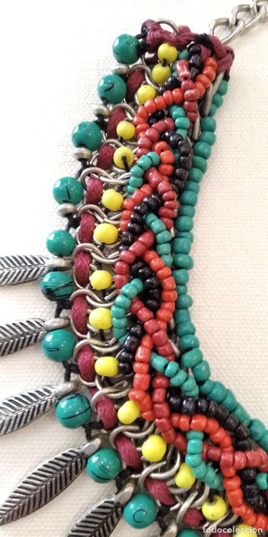 Joyeria: Gargantilla estilo etnico ,cuentas de cristal, hojas plateadas - Foto 2 - 263157600