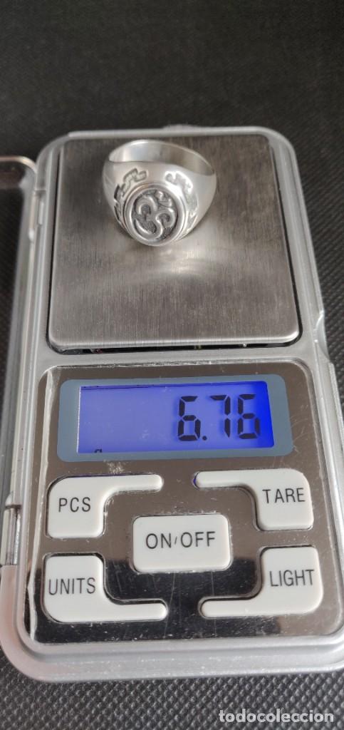 Joyeria: Anillo vintage de hombre plata estelina 925 Om símbolo budista - Foto 4 - 265682579
