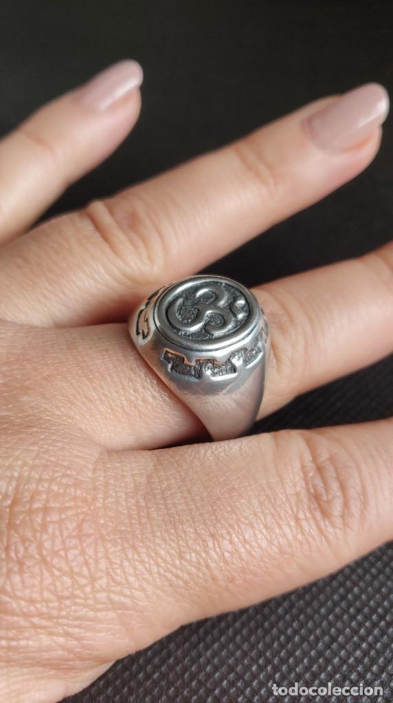 Joyeria: Anillo vintage de hombre plata estelina 925 Om símbolo budista - Foto 5 - 265682579