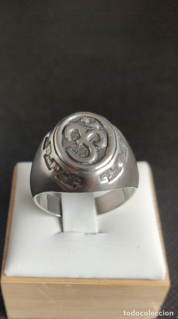 Joyeria: Anillo vintage de hombre plata estelina 925 Om símbolo budista - Foto 6 - 265682579