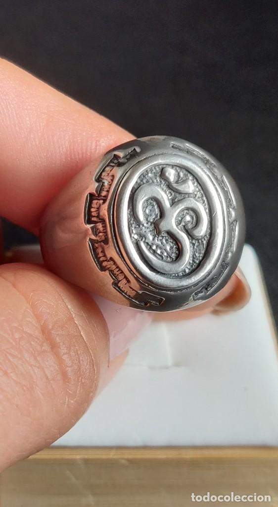 Joyeria: Anillo vintage de hombre plata estelina 925 Om símbolo budista - Foto 7 - 265682579