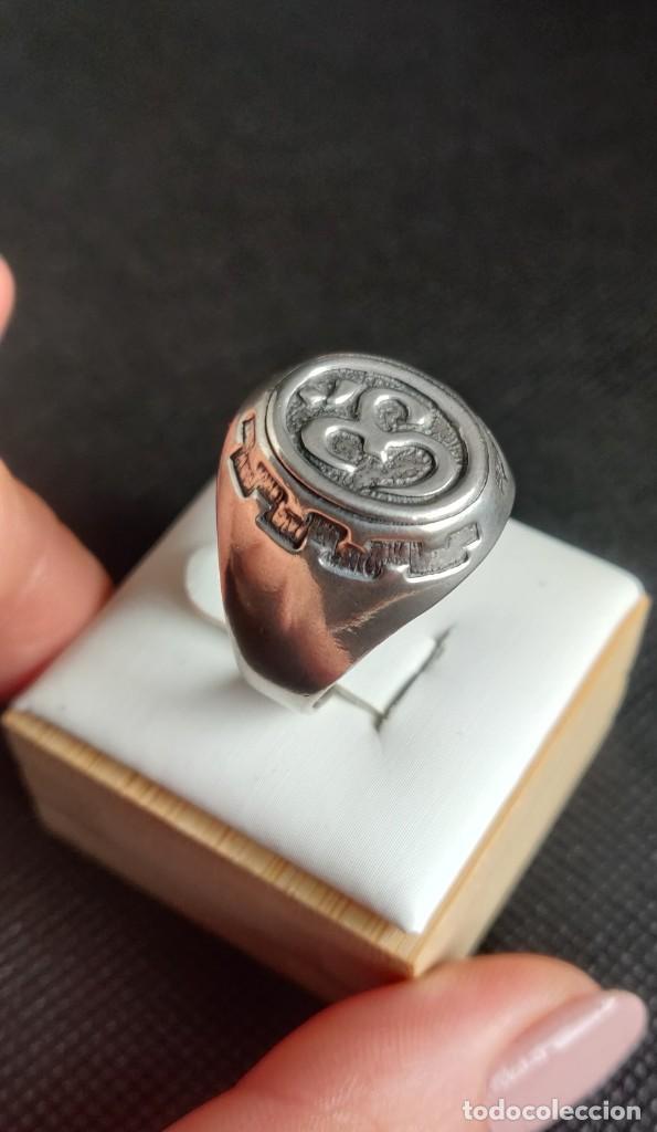Joyeria: Anillo vintage de hombre plata estelina 925 Om símbolo budista - Foto 8 - 265682579