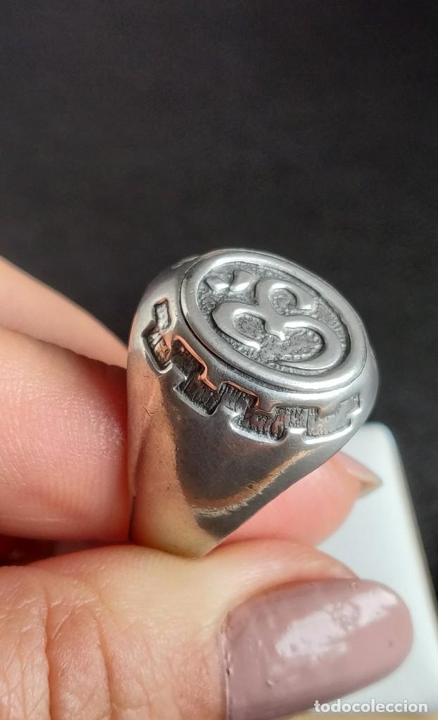 Joyeria: Anillo vintage de hombre plata estelina 925 Om símbolo budista - Foto 11 - 265682579