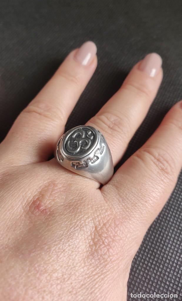 Joyeria: Anillo vintage de hombre plata estelina 925 Om símbolo budista - Foto 12 - 265682579