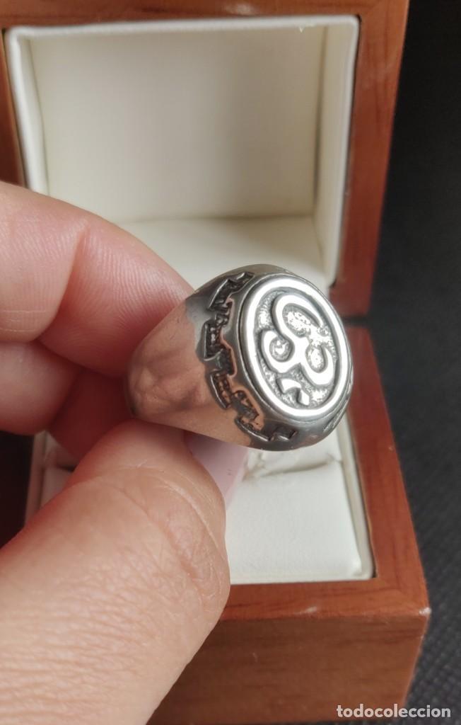 Joyeria: Anillo vintage de hombre plata estelina 925 Om símbolo budista - Foto 14 - 265682579