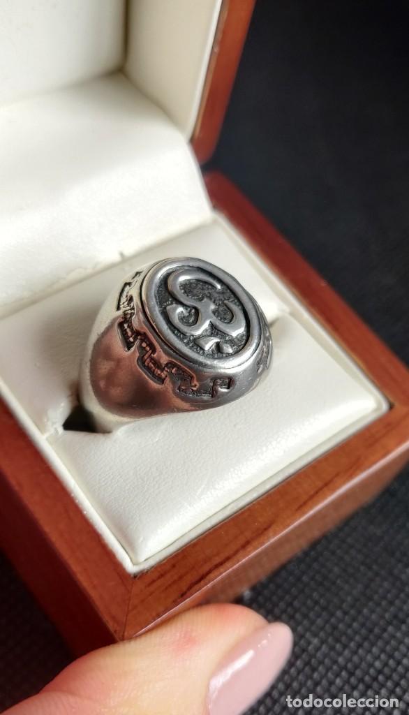 Joyeria: Anillo vintage de hombre plata estelina 925 Om símbolo budista - Foto 16 - 265682579
