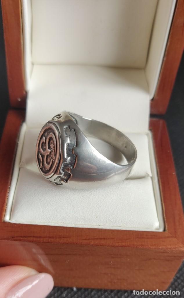 Joyeria: Anillo vintage de hombre plata estelina 925 Om símbolo budista - Foto 17 - 265682579