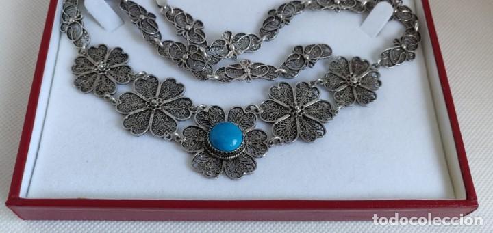 Joyeria: Collar antiguo de filgarna y Turquesa de plata esterlina 925. - Foto 2 - 266323068