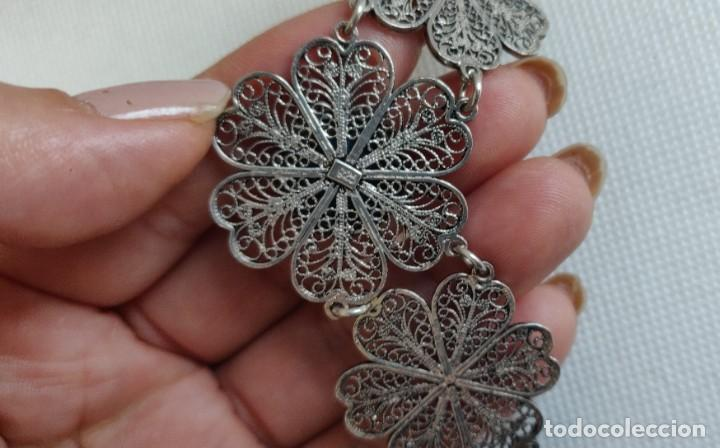 Joyeria: Collar antiguo de filgarna y Turquesa de plata esterlina 925. - Foto 3 - 266323068