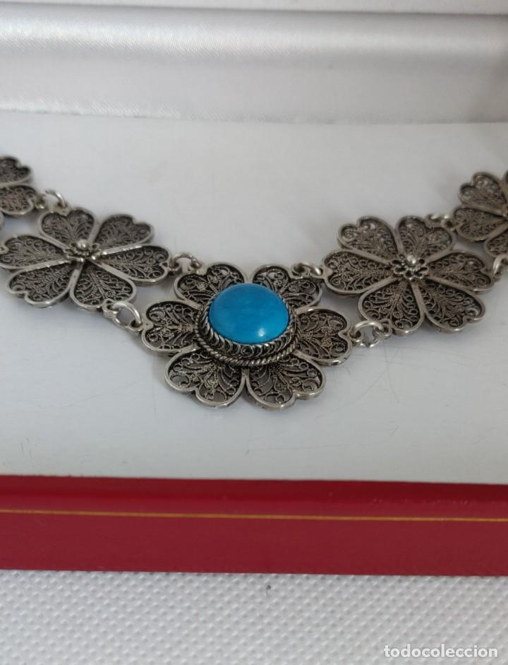 Joyeria: Collar antiguo de filgarna y Turquesa de plata esterlina 925. - Foto 4 - 266323068