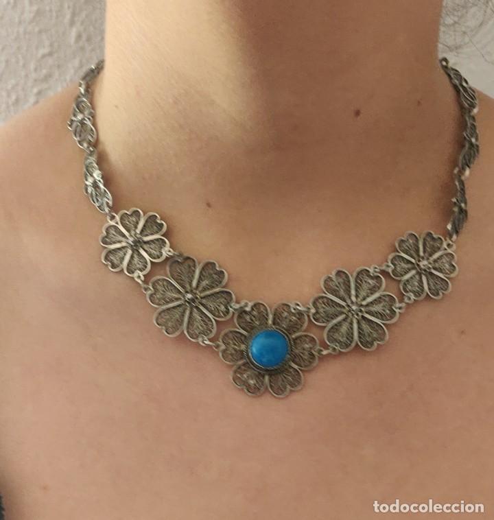 Joyeria: Collar antiguo de filgarna y Turquesa de plata esterlina 925. - Foto 6 - 266323068