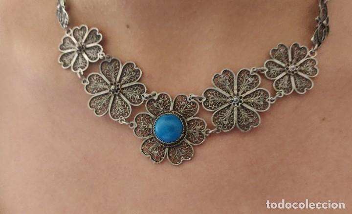 Joyeria: Collar antiguo de filgarna y Turquesa de plata esterlina 925. - Foto 7 - 266323068