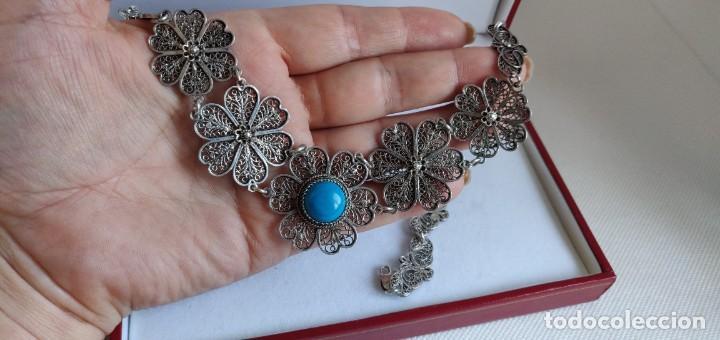 Joyeria: Collar antiguo de filgarna y Turquesa de plata esterlina 925. - Foto 10 - 266323068