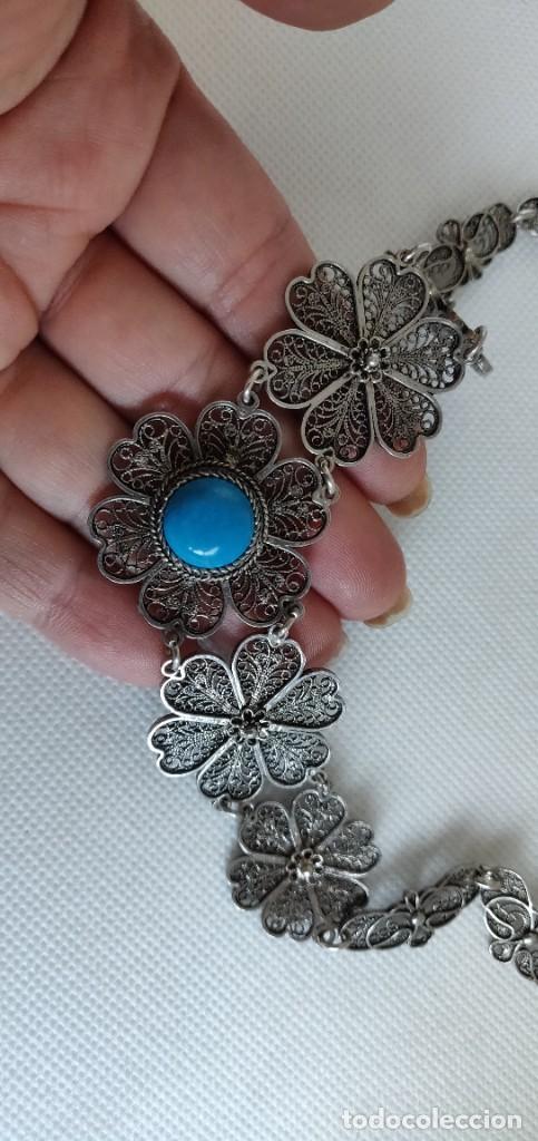 Joyeria: Collar antiguo de filgarna y Turquesa de plata esterlina 925. - Foto 11 - 266323068