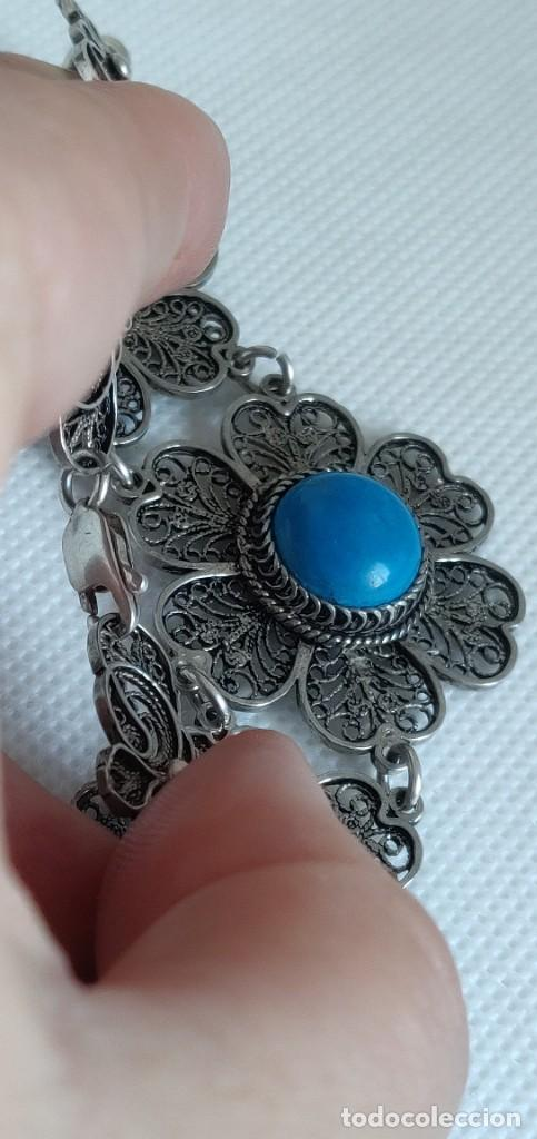 Joyeria: Collar antiguo de filgarna y Turquesa de plata esterlina 925. - Foto 15 - 266323068