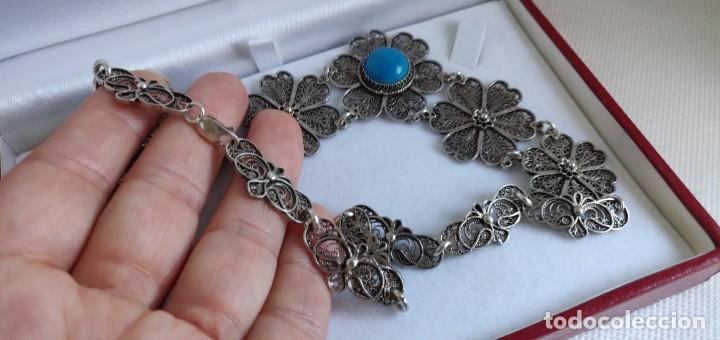 Joyeria: Collar antiguo de filgarna y Turquesa de plata esterlina 925. - Foto 17 - 266323068