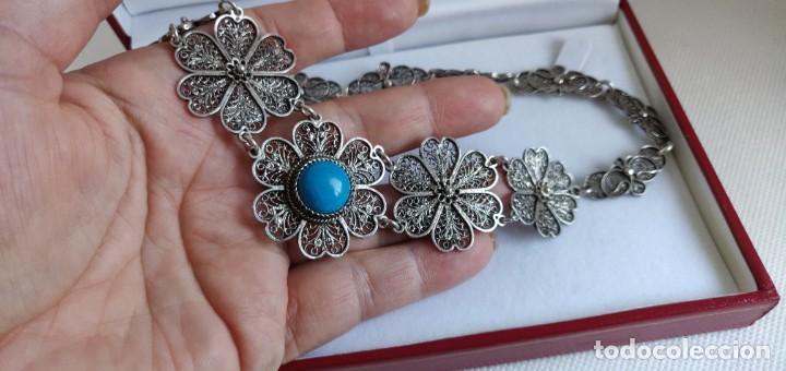 Joyeria: Collar antiguo de filgarna y Turquesa de plata esterlina 925. - Foto 18 - 266323068