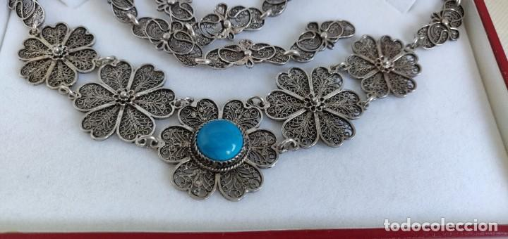 Joyeria: Collar antiguo de filgarna y Turquesa de plata esterlina 925. - Foto 20 - 266323068