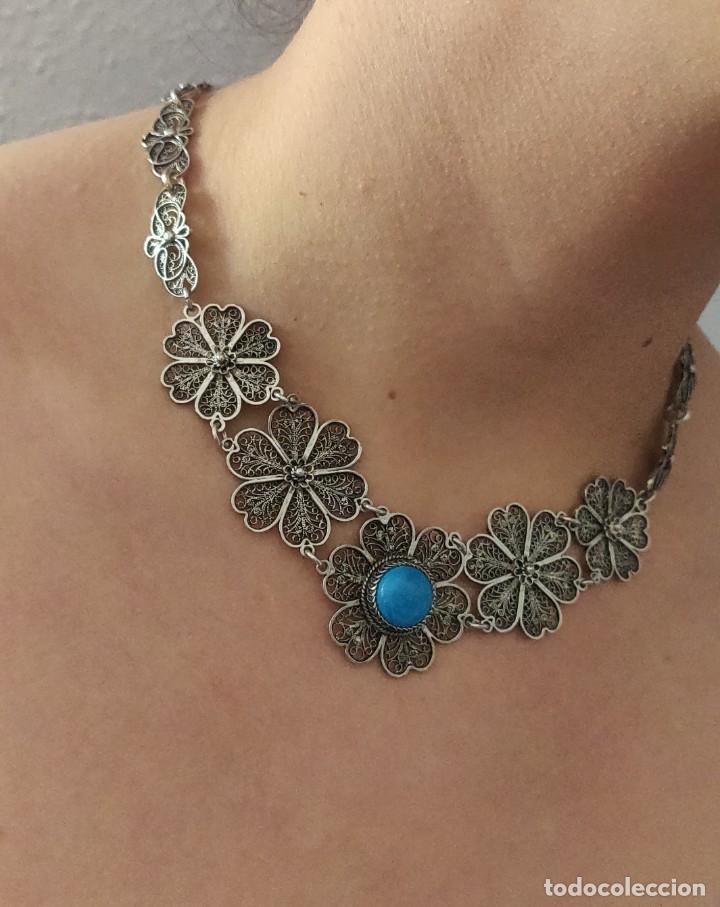Joyeria: Collar antiguo de filgarna y Turquesa de plata esterlina 925. - Foto 21 - 266323068