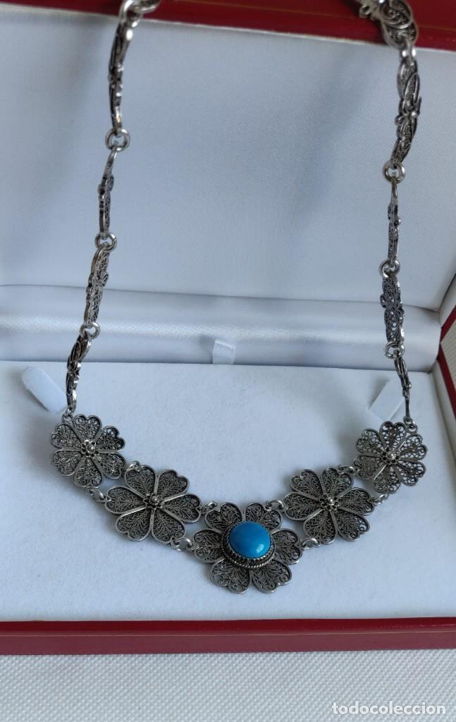 Joyeria: Collar antiguo de filgarna y Turquesa de plata esterlina 925. - Foto 22 - 266323068
