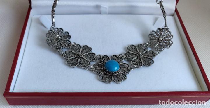 Joyeria: Collar antiguo de filgarna y Turquesa de plata esterlina 925. - Foto 23 - 266323068