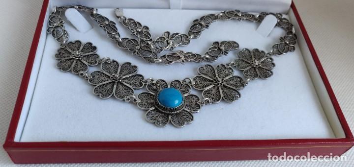Joyeria: Collar antiguo de filgarna y Turquesa de plata esterlina 925. - Foto 24 - 266323068