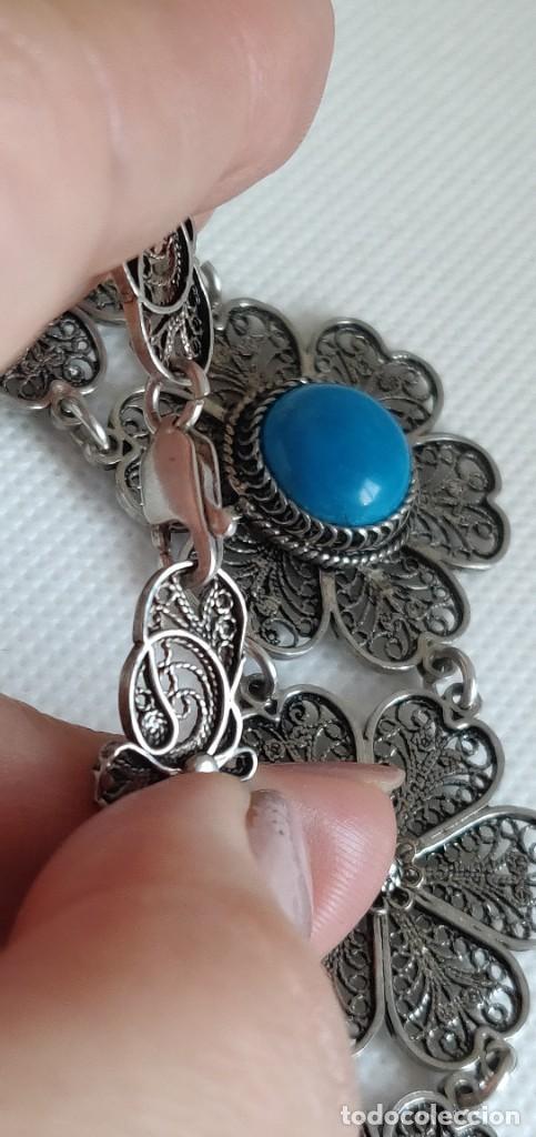 Joyeria: Collar antiguo de filgarna y Turquesa de plata esterlina 925. - Foto 25 - 266323068