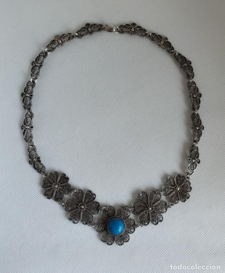 Joyeria: Collar antiguo de filgarna y Turquesa de plata esterlina 925. - Foto 26 - 266323068