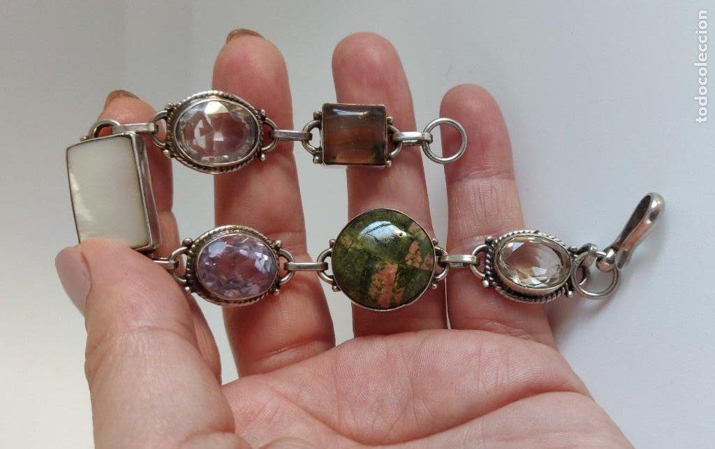 """Joyeria: Pulsera de plata esterlina con 6 gemas """"Citrino, Ágata, Amatista, Perla, Topacio y Turmalina. - Foto 2 - 267615334"""
