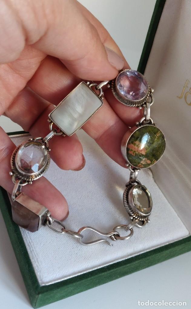 """Joyeria: Pulsera de plata esterlina con 6 gemas """"Citrino, Ágata, Amatista, Perla, Topacio y Turmalina. - Foto 6 - 267615334"""