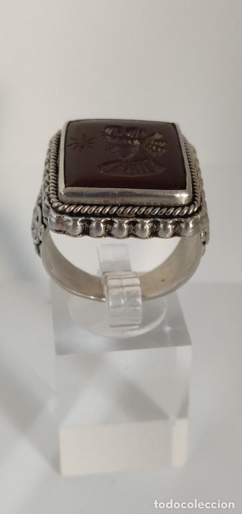 Joyeria: Sello antiguo plata esterlina con rostro Romano tallado en Cornalina, n° 20 equivalente a 19.1 m - Foto 14 - 267645354