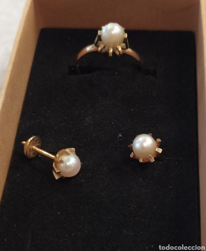 Joyeria: Conjunto pendientes y anillo. Oro 18K y perlas. - Foto 2 - 268610809