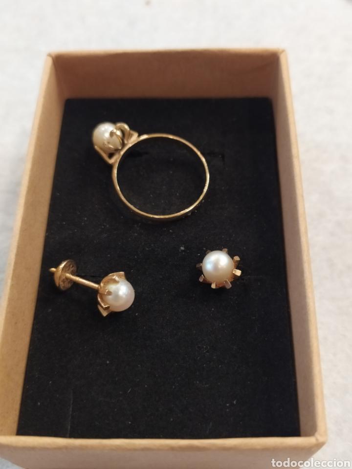 Joyeria: Conjunto pendientes y anillo. Oro 18K y perlas. - Foto 3 - 268610809