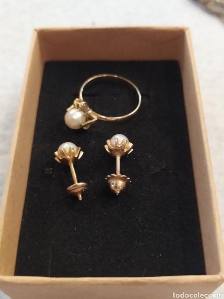 Joyeria: Conjunto pendientes y anillo. Oro 18K y perlas. - Foto 4 - 268610809