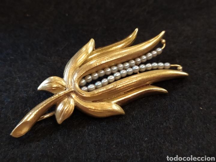 Joyeria: Broche art Déco oró 18k y perlas, motivos florales. - Foto 7 - 268616234