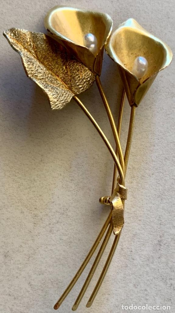 BROCHE VINTAGE EN FORMA DE RAMO FLORES - AÑOS 60 - 70 - ORO DE 18 KT - PESO 12´5 GRAMOS (Joyería - Broches Antiguos)
