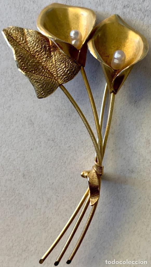 Joyeria: BROCHE VINTAGE EN FORMA DE RAMO FLORES - AÑOS 60 - 70 - ORO DE 18 KT - PESO 12´5 GRAMOS - Foto 3 - 268929534