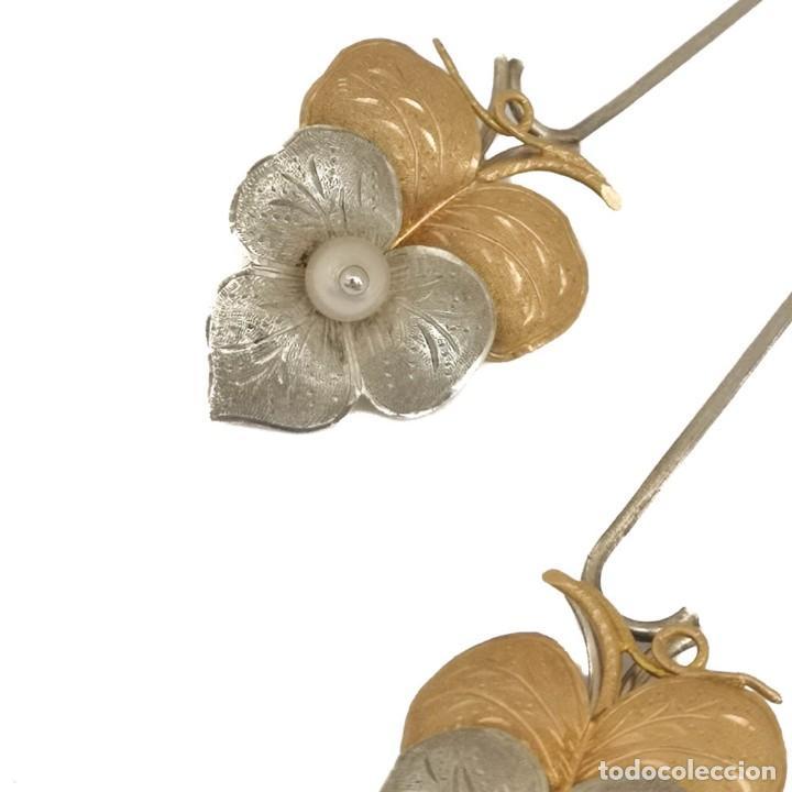 Joyeria: Vintage Pareja Pinzas O Pasador Pelo Oro 18k Plata Y Perlas - Foto 2 - 152824522