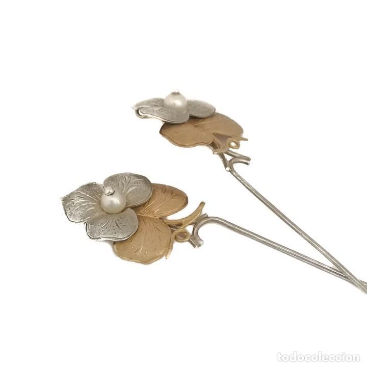 Joyeria: Vintage Pareja Pinzas O Pasador Pelo Oro 18k Plata Y Perlas - Foto 4 - 152824522